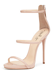 Women's Sandals With Three Straps 2017 Nude Blush Shiny Patent High Heel Shoes Sxey Sandals Ladies Gladiator Heels Stilettos Plus Size