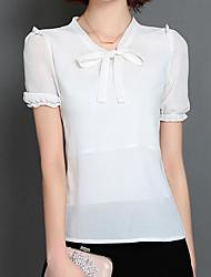 Tee-shirt Femme,Couleur Pleine Sortie simple Manches Courtes Col Arrondi Fibre de bambou Spandex