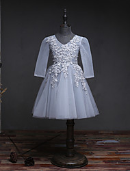BONJEAN A-line Knee-length Flower Girl Dress - Organza V-neck with Beading Lace