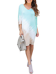 Women's Color Block V Neck Casual/Daily Simple Loose Backless Cut Out Above Knee  Length Sleeve Bat Sleeve Dress