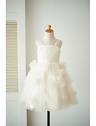 A-line Knee-length Flower Girl Dress - Tulle Straps with Flower(s)