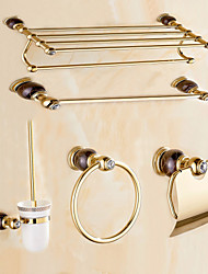 Contemporary Gold Brass 5PCS Bathroom Accessory Set  Towel Shelf Towel Bar Towel Ring Brush Paper Holder