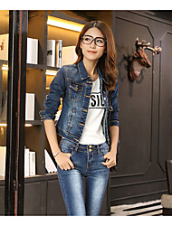 Women's Casual/Daily Work Beach Simple Street chic Spring Denim Jacket,Solid Square Neck Short Others