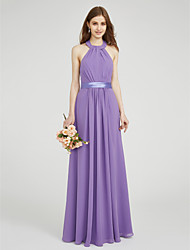 LAN TING BRIDE Floor-length Halter Bridesmaid Dress - Elegant Sleeveless Chiffon Stretch Satin