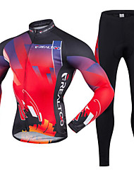 Cycling Jersey with Tights Men's Long Sleeves Bike Clothing Suits Quick Dry Ultraviolet Resistant Front Zipper Breathable Lightweight