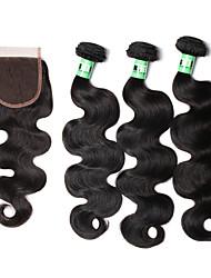 Tissages de cheveux humains Cheveux Péruviens Ondulation naturelle 18 Mois 4 Pièces tissages de cheveux