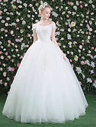 Princess Wedding Dress - Classic & Timeless Floor-length Bateau Lace Tulle Sequined with Appliques Beading Crystal Flower Lace Sequin