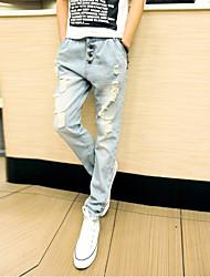 Men's Low Rise Micro-elastic Jeans Pants,Simple Loose Solid