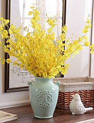 10 Branch Silk Yellow Oncidium Drawing Room Home Decoration Artificial Flowers
