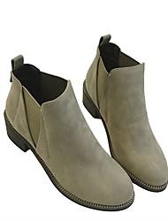 Women's Boots Spring Comfort PU Casual Low Heel Gray Black