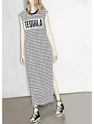 Damen Etuikleid T Shirt Tunika Kleid-Ausgehen Lässig/Alltäglich Einfach Street Schick Gestreift Buchstabe Rundhalsausschnitt Maxi Knielang