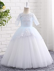 A-line Ankle-length Flower Girl Dress - Tulle Jewel with Appliques Bow(s) Flower(s) Pleats