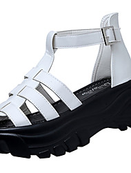 Women's Sandals Gladiator Club Shoes PU Spring Summer Casual Dress Gladiator Club Shoes Buckle Flat Heel White Black 3in-3 3/4in