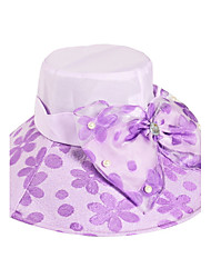 Women Foldable Summer Anti-ultraviolet Flower Printing Pearl Decoration Cloth Sunscreen Hat