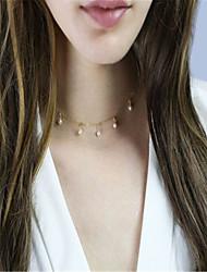 Mulheres Gargantilhas Obsidiana Fio Único Imitação de Pérola Cobre Imitação de Pérola Moda Personalizado Euramerican Dourado Prata Jóias