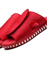 Men's Slippers & Flip-Flops Summer Light Soles Fabric Casual Low Heel Hook & Loop Black Red