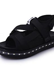 Для женщин Сандалии Обувь с подсветкой Ткань Весна Повседневные Обувь с подсветкой LED На низком каблуке Черный Розовый 2,5 - 4,5 см
