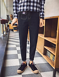 Men's Low Rise Inelastic Jeans Pants,Street chic Slim Solid