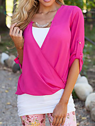 Women's Casual/Daily Simple Blouse,Solid Asymmetrical ¾ Sleeve Cotton Thin