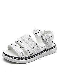 Para Meninas-Sandálias-Conforto Gladiador-Rasteiro-Branco Preto-Tecido-Ar-Livre Escritório & Trabalho Casual Festas & Noite