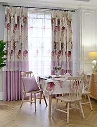 Two Panels European Simple Style High-Grade Cotton Printing Room Restaurant Children Room Curtains