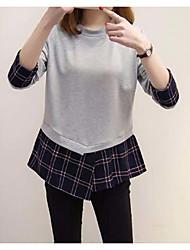 Damen Gestreift Einfach Ausgehen T-shirt,Hemdkragen Langarm Baumwolle