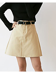 Women's High Rise Above Knee Skirts A Line Solid