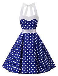 Women's Rockabilly Vintage Dress Blue White Polka Dot Halter Knee-length Sleeveless Cotton All Seasons Mid Rise