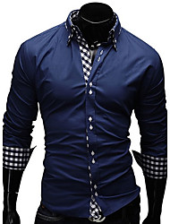 Men's Long Sleeve Shirt , 100% Cotton Double Neck Casual / Work / Formal Print / Plaids & Checks / Pure Shirt