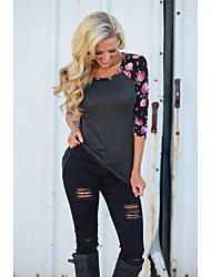 Damen Solide Sexy Urlaub T-shirt,V-Ausschnitt Kurzarm Polyester