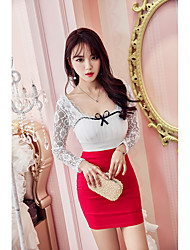 Sign 2017 new low-cut lace stitching bow decorated Slim package hip sexy dress