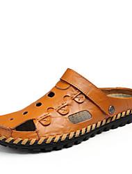 Masculino-Sandálias-ConfortoPreto Azul Escuro Amarelo Terra-Pele-Casual
