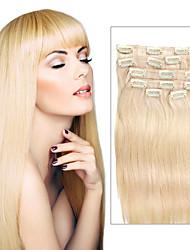 7 PC / sistema de color 613 playa pinza de pelo de oro rubia en extensiones de cabello 14inch 18inch 100% del pelo humano