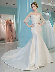 Mermaid / Trumpet High Neck Chapel Train Lace Satin Tulle Wedding Dress with Lace by