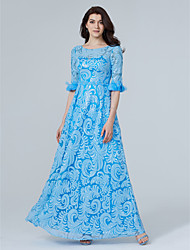 2017 Formal Evening Dress - Sparkle & Shine Sheath / Column Jewel Floor-length Sequined with Beading Flower(s) Sequins