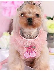 Cachorro Vestidos Roupas para Cães Casual Fashion Xadrez Roxo Rosa claro