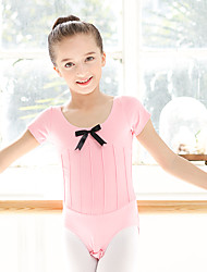 Ballet Leotards Kid's Cotton Spandex 1 Piece Short Sleeve
