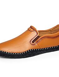 Для мужчин Мокасины и Свитер Удобная обувь Кожа Весна Осень Повседневный На эластичной ленте На плоской подошве Белый Черный ЖелтыйНа
