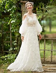 A-ligne scoop tribunal train dentelle tulle robe de mariée avec perle