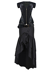 Shaperdiva Gothic Jacquard Steampunk Overbust Corset Dress Costumes