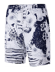 Men's High Rise Inelastic Shorts Pants,Simple Active Straight Print