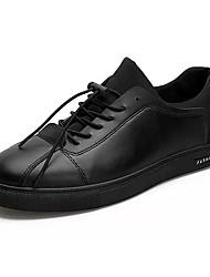Hombre Zapatillas de deporte Confort PU Verano Casual Paseo Confort Combinación Tacón Plano Negro Pantalla de color 5 - 7 cms