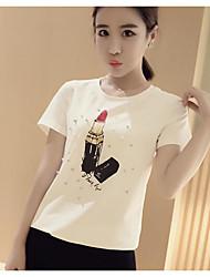 Dames Eenvoudig T-shirt,Uitgaan Bloemen Ronde hals Korte mouw Katoen