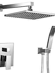 Contemporary Art Deco/Retro Modern Shower System Rain Shower Handshower Included with  Ceramic Valve Two Handles Four Holes for  Chrome ,