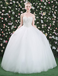Princess Wedding Dress - Classic & Timeless Floor-length Sweetheart Lace Tulle with Beading Flower Lace Pearl Sequin
