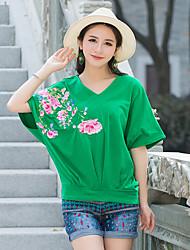 Damen Solide Stickerei Einfach Lässig/Alltäglich T-shirt,Sweetheart Kurzarm Acryl