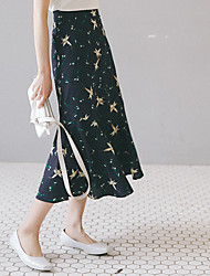 Women's Casual/Daily Midi Skirts,Simple Trumpet/Mermaid Floral Ruffle Print Summer
