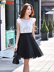 Для женщин На выход На каждый день Праздник Уличный стиль Изысканный Оболочка Из двух частей Черный и белый Платье Контрастных цветов,