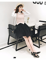 Women's Casual/Daily Simple Spring Tank Top Dress Suits,Solid Round Neck Long Sleeve Lace Cotton Inelastic