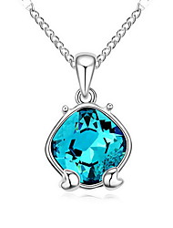 Women's Pendant Necklaces Jewelry Jewelry Gem Alloy Unique Design Fashion Light Blue Red Purple Dark Blue Jewelry ForParty Gift Daily